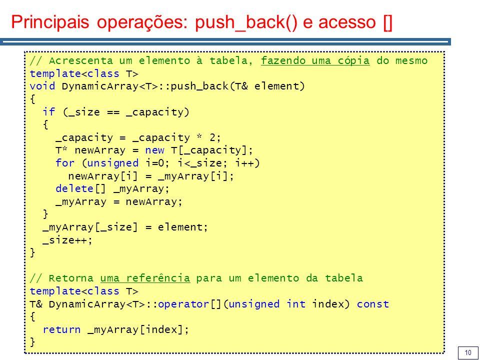 Principais operações: push_back() e acesso []